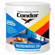 Краска акриловая полуматовая для окон и дверей CONDOR Nordweiss 30 (0,85кг)