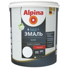 Эмаль акриловая ALPINA Aqua водно-дисперсионная белая шелковисто-матовая 2,5л