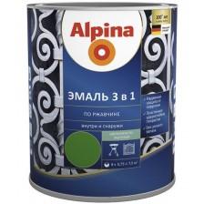 Эмаль по ржавчине ALPINA 3 в 1 шелковисто-матовая, цветная RAL1021 (зеленая) 2,5л