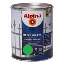 Эмаль алкидная ALPINA Direkt auf Rost Hammerschlageffekt прямо на ржавчину зеленая 750мл